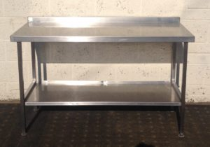 Stainless Steel Table with Upstand and Undershelf Storage