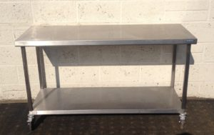 Moffat Stainless Table with undershelf – on Casters