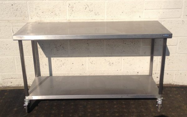 Moffat Stainless Table with undershelf – on Casters 1