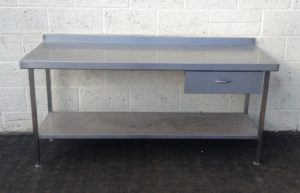 Stainless Table with Undershelf and Storage Drawer