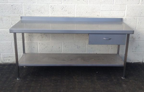 Stainless Table with Undershelf and Storage Drawer 1