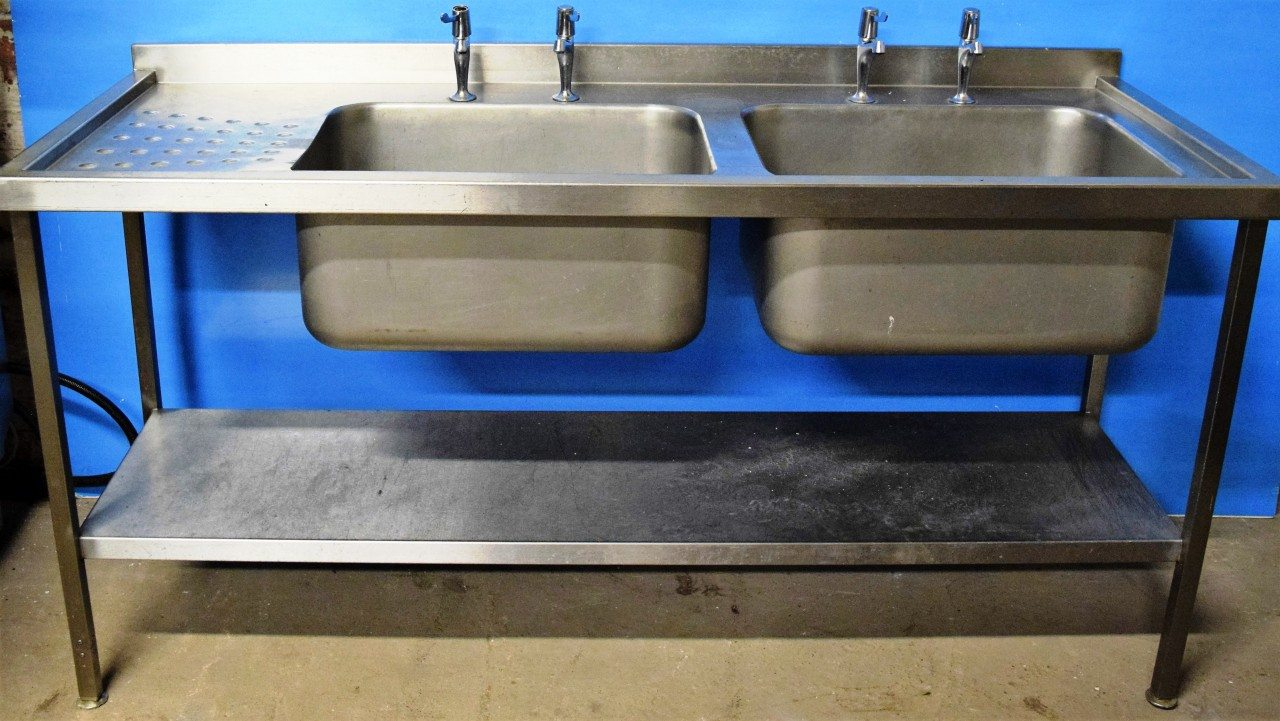 STAINLESS STEEL Double Bowl Single Drainer Sink 180cm wide