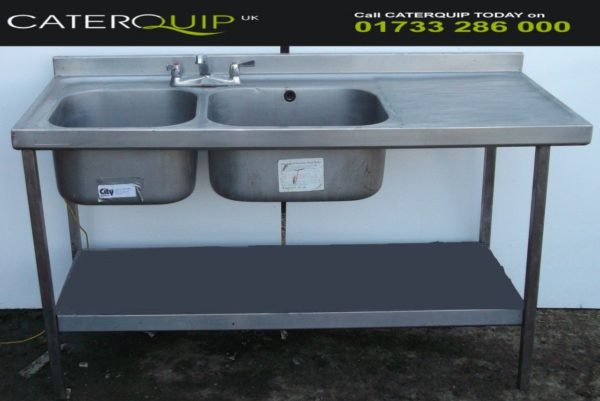 Double Bowl Right Hand Drainer Sink with Under Shelf 1