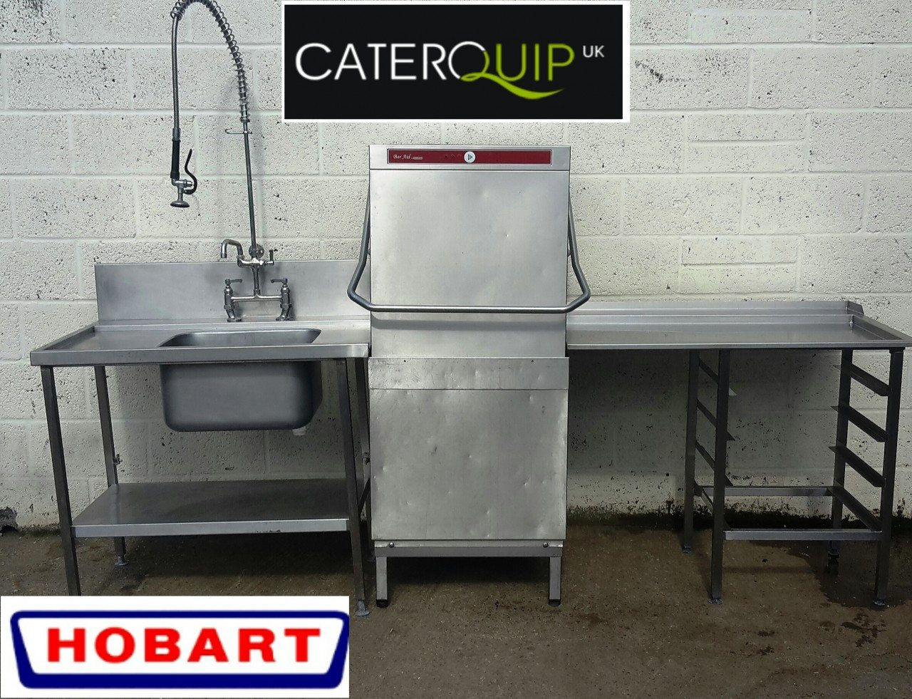 Hobart bar aid pass through hood dish washer with
