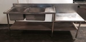 Double Bowl Right Hand Drainer Sink with Undershelf