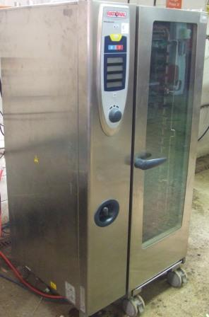 RATIONAL SCC Gas 20 Grid Combi Oven with Roll In Trolley 1