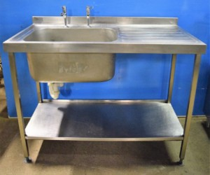 STAINLESS STEEL Single Left Hand Bowl Single Drainer Sink – Super condition
