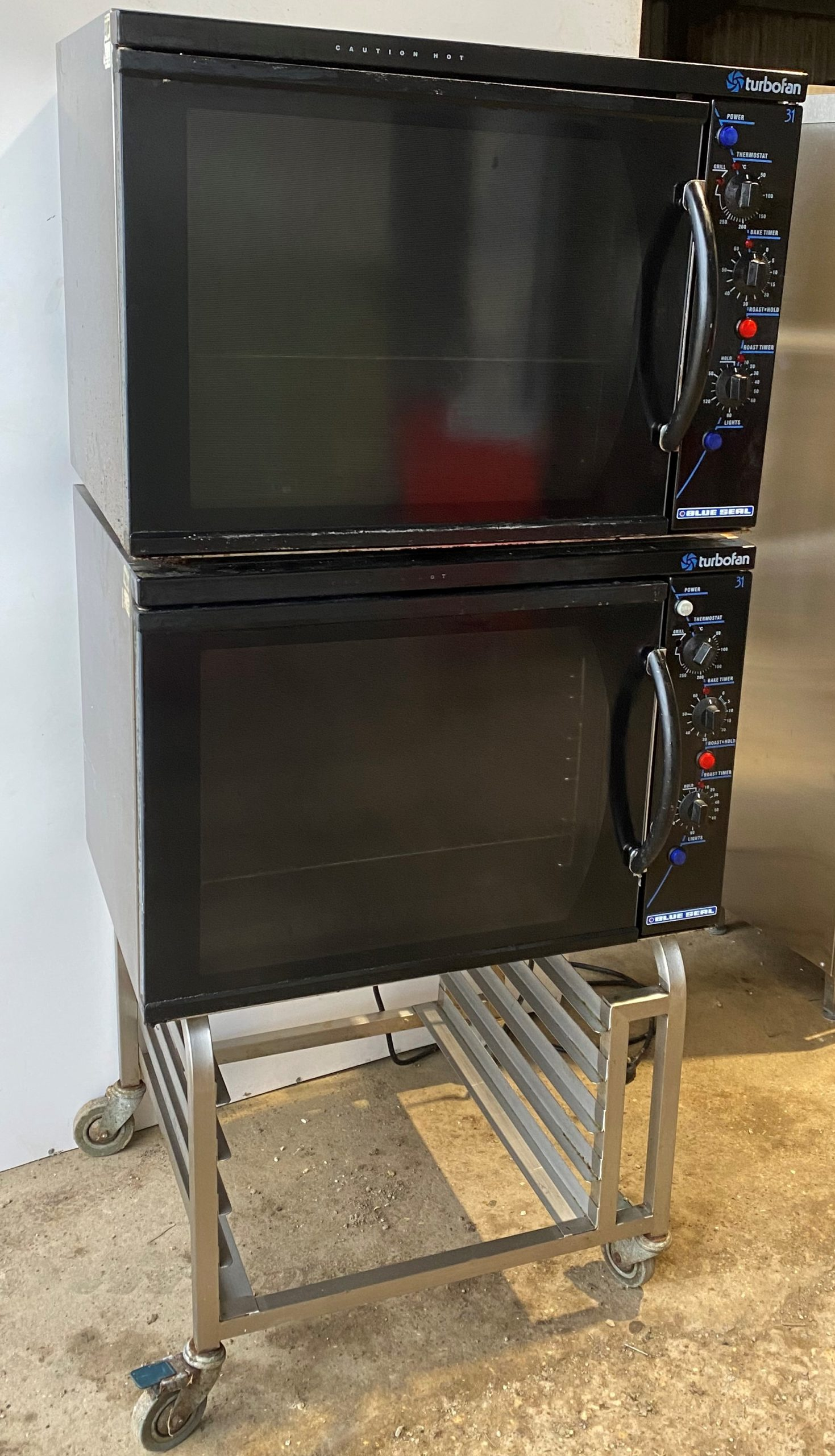 BLUE SEAL Stacked Pair E31 Electric Convection Ovens with Stand