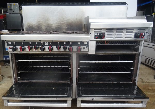 GARLAND Sun Fire Range. Heavy Duty 6 burner, griddle, salamander & two ovens