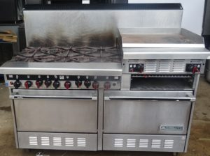 GARLAND Sun Fire Range. Heavy Duty 6 burner, griddle, salamander & two ovens