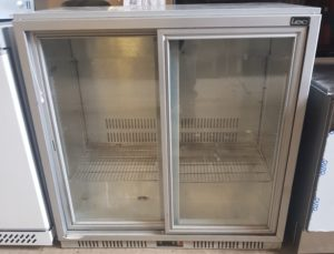LEC Twin Sliding Door Back Bar Bottle Fridge