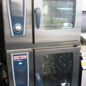 RATIONAL Stacked White Efficiency Electric 6 Grid Combi Ovens