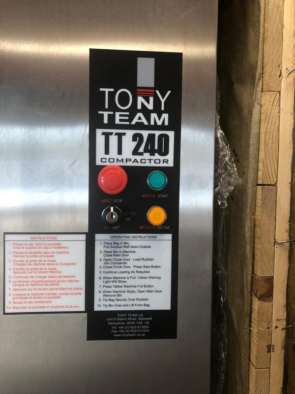 TONY TT 240 Waste Compactor – Brand New, still crated!!
