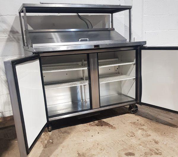 TRUE 2 Door Bench Saladette with Ambient Gantry Shelf