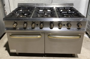 Hobart Extra Wide 6 Burner Range with Twin Ovens