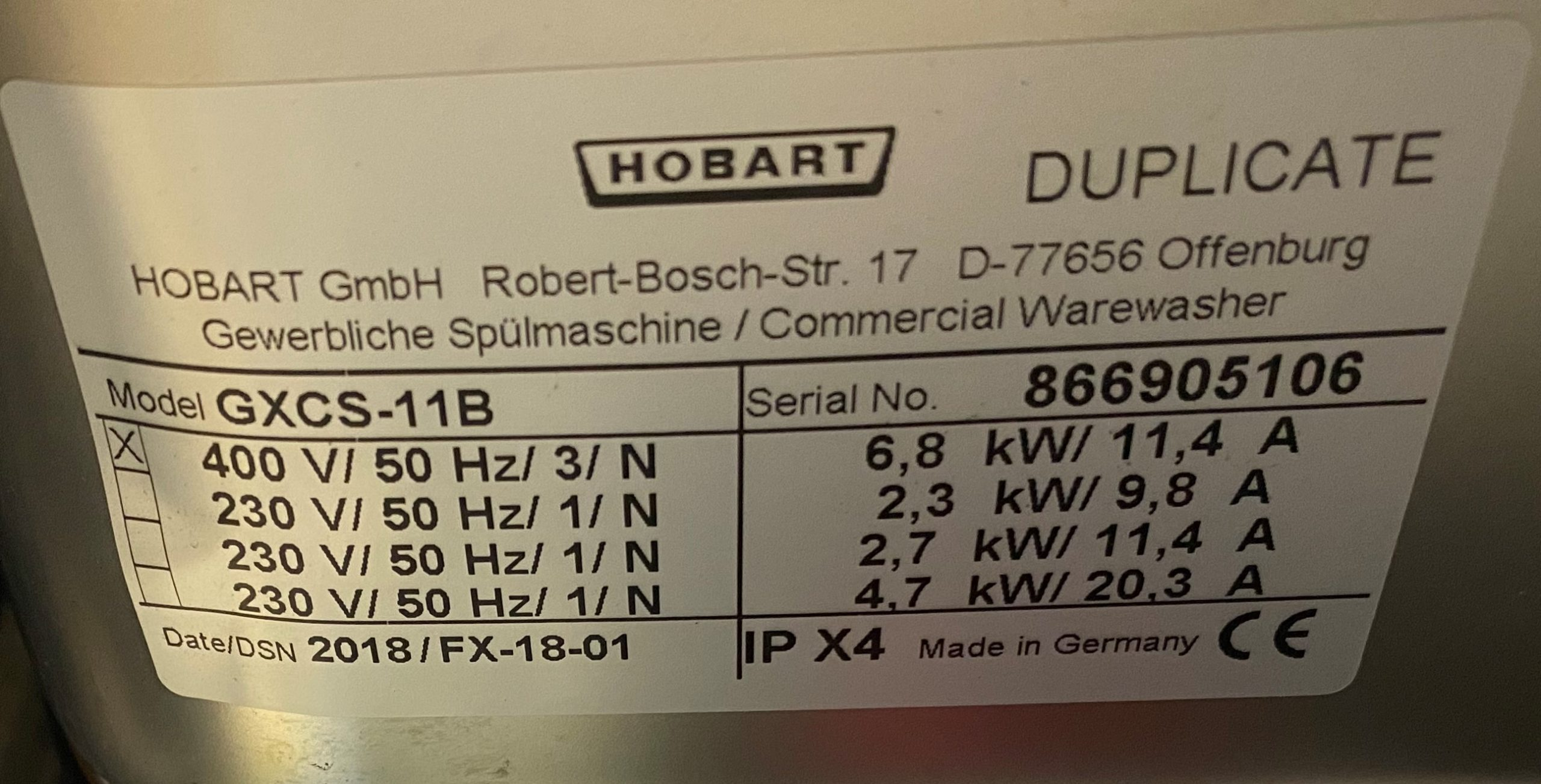 HOBART GXCS 11B Under Counter Glass Washer – 2018 mint condition