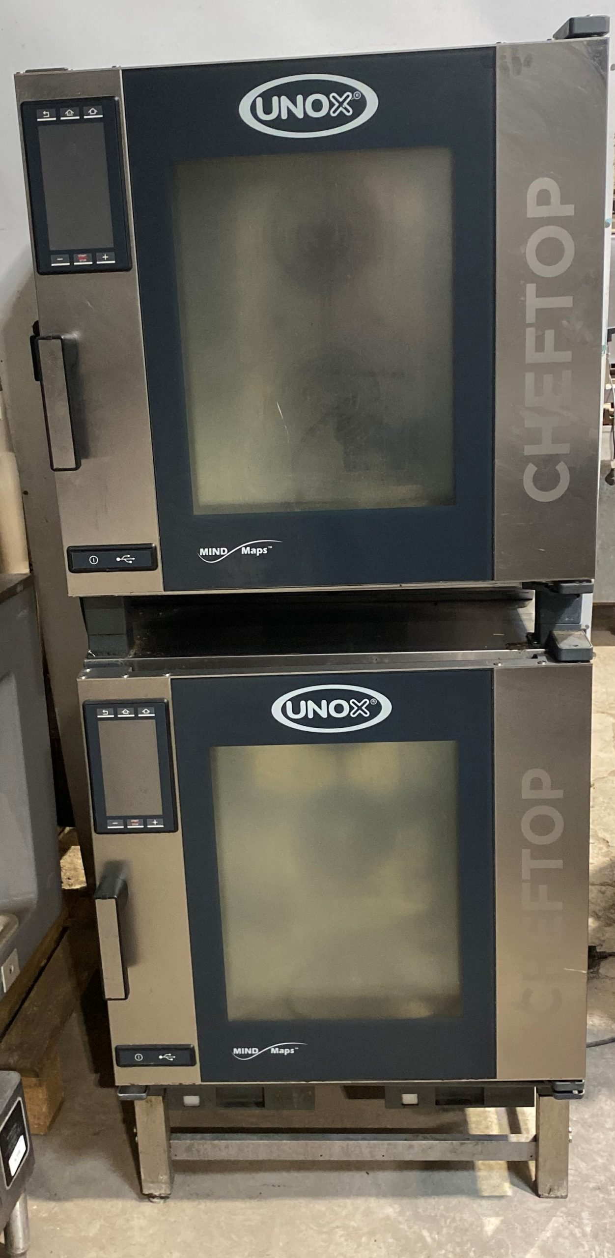 UNOX XEVC Stacked Gas 7 Grid Combi Ovens with Stand